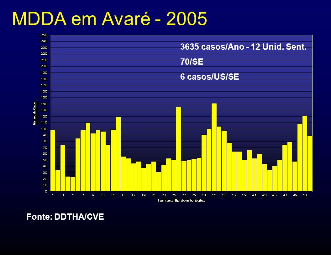 MDDA em Avaré - 2005 3635 casos/Ano - 12 Unid. Sent. 70/SE 6 casos/US/SE Fonte: DDTHA/CVE