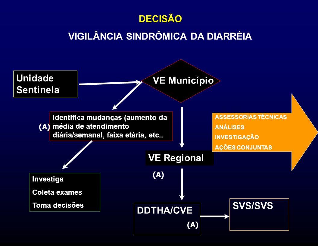 DECISÃO VIGILÂNCIA SINDRÔMICA DA DIARRÉIA VE Regional DDTHA/CVE ASSESSORIAS TÉCNICAS ANÁLISES INVESTIGAÇÃO AÇÕES CONJUNTAS SVS/SVS Unidade Sentinela V