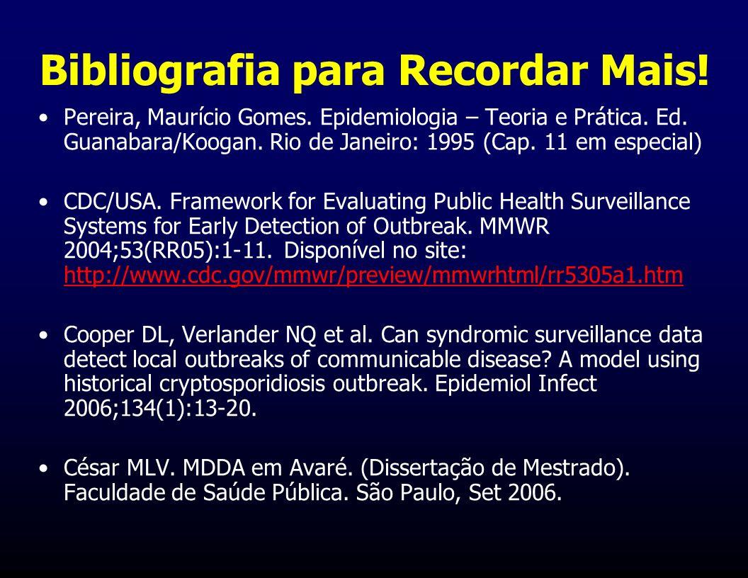 Bibliografia para Recordar Mais! Pereira, Maurício Gomes. Epidemiologia – Teoria e Prática. Ed. Guanabara/Koogan. Rio de Janeiro: 1995 (Cap. 11 em esp