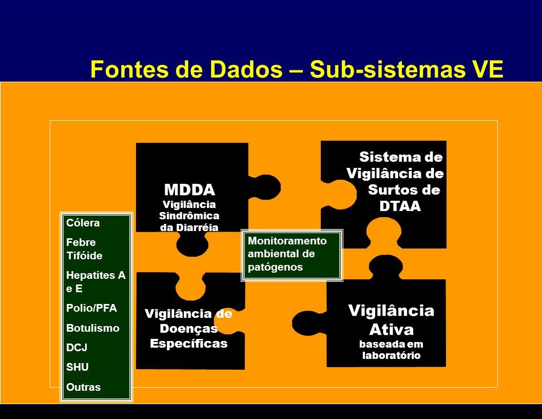 Fontes de Dados – Sub-sistemas VE Sistema de Vigilância de Surtos de DTAA MDDA Vigilância Sindrômica da Diarréia Vigilância Ativa baseada em laboratór