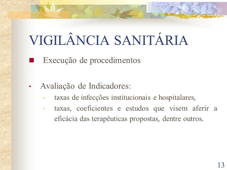 13 VIGILÂNCIA SANITÁRIA Execução de procedimentos Avaliação de Indicadores: taxas de infecções institucionais e hospitalares, taxas, coeficientes e es