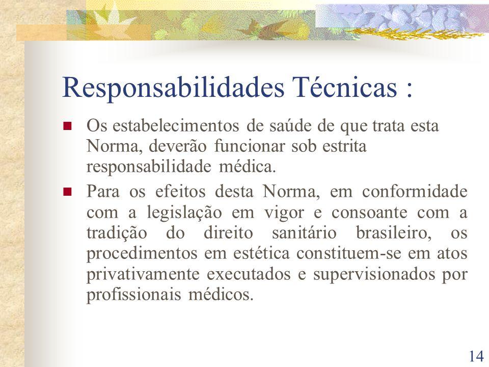 14 Responsabilidades Técnicas : Os estabelecimentos de saúde de que trata esta Norma, deverão funcionar sob estrita responsabilidade médica. Para os e