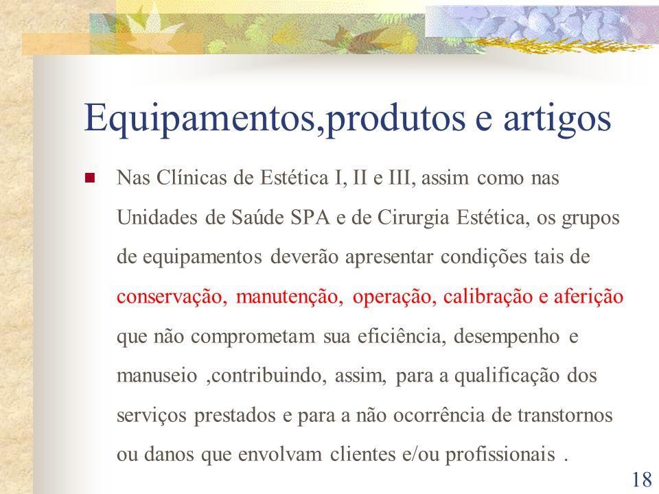 18 Equipamentos,produtos e artigos Nas Clínicas de Estética I, II e III, assim como nas Unidades de Saúde SPA e de Cirurgia Estética, os grupos de equ