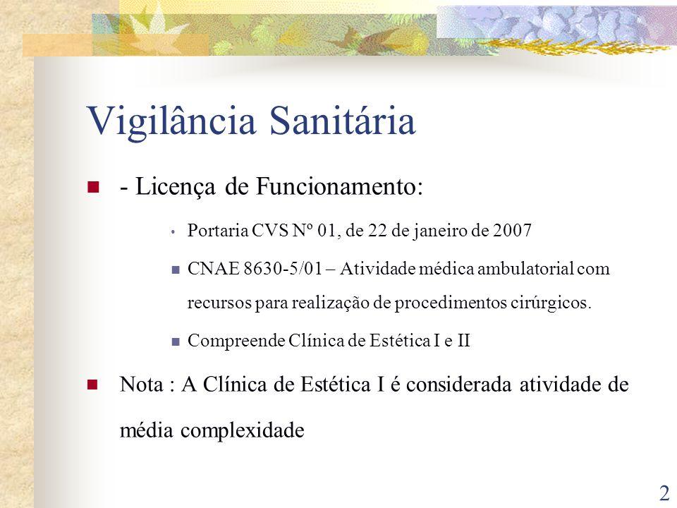 3 Licença de Funcionamento: Portaria CVS Nº 01, de 22 de janeiro de 2007 CNAE 8610-1/01 – Atividades de Atendimento Hospitalar – exceto Pronto – Socorro e unidades para atendimento e urgências.