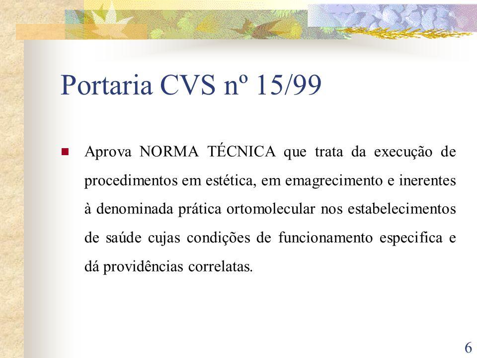 6 Portaria CVS nº 15/99 Aprova NORMA TÉCNICA que trata da execução de procedimentos em estética, em emagrecimento e inerentes à denominada prática ort