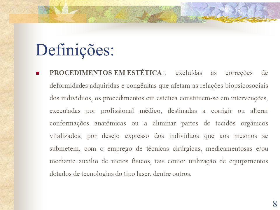 8 Definições: PROCEDIMENTOS EM ESTÉTICA : excluídas as correções de deformidades adquiridas e congênitas que afetam as relações biopsicosociais dos in