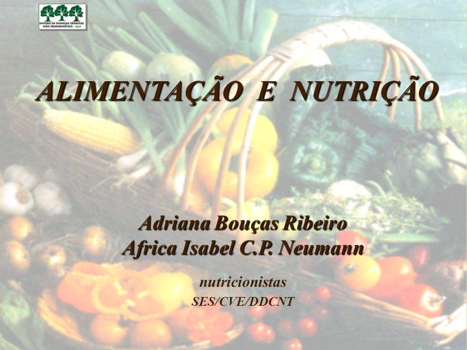 ALIMENTAÇÃO E NUTRIÇÃO Adriana Bouças Ribeiro Africa Isabel C.P. Neumann nutricionistas SES/CVE/DDCNT