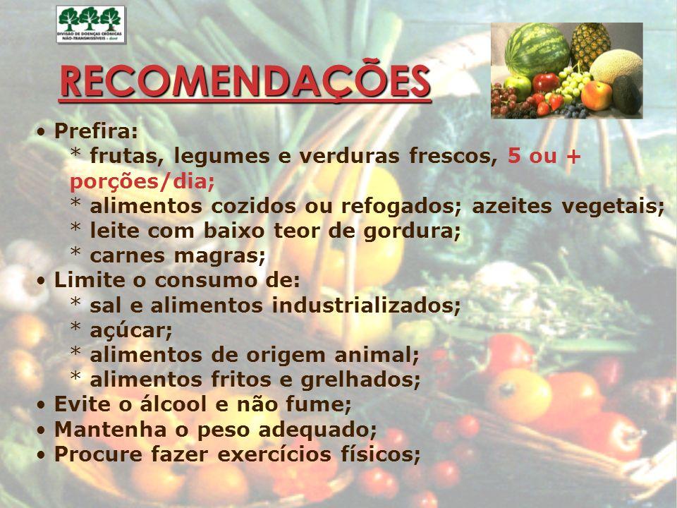 RECOMENDAÇÕES Prefira: * frutas, legumes e verduras frescos, 5 ou + porções/dia; * alimentos cozidos ou refogados; azeites vegetais; * leite com baixo