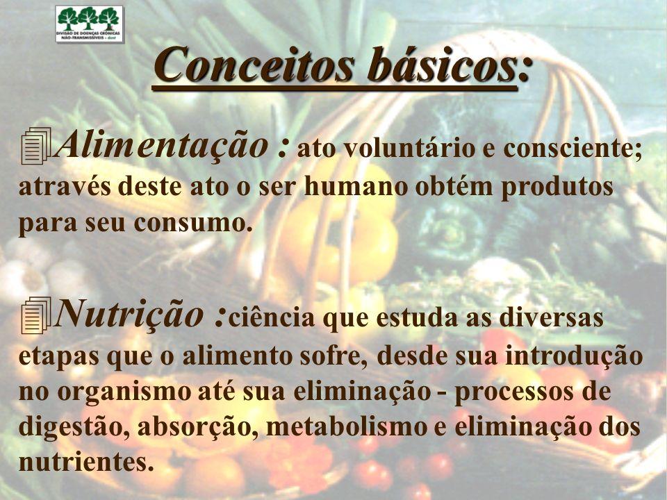 Conceitos básicos: 4Alimentação : ato voluntário e consciente; através deste ato o ser humano obtém produtos para seu consumo. 4Nutrição : ciência que