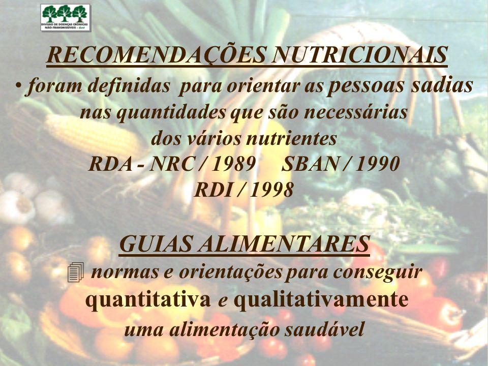 RECOMENDAÇÕES NUTRICIONAIS foram definidas para orientar as pessoas sadias nas quantidades que são necessárias dos vários nutrientes RDA - NRC / 1989
