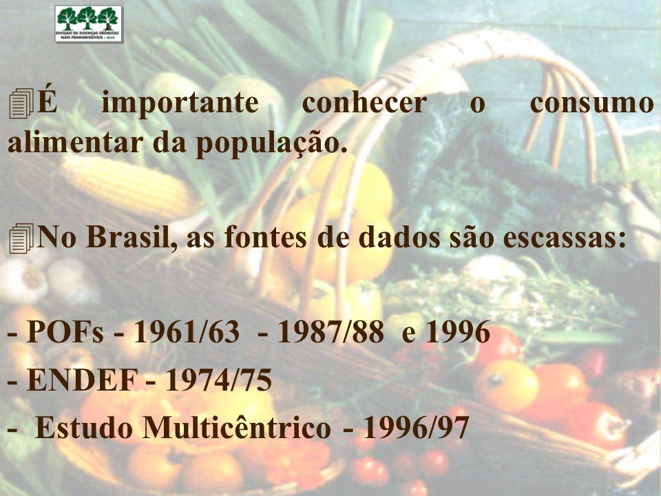 4É importante conhecer o consumo alimentar da população. 4No Brasil, as fontes de dados são escassas: - POFs - 1961/63 - 1987/88 e 1996 - ENDEF - 1974