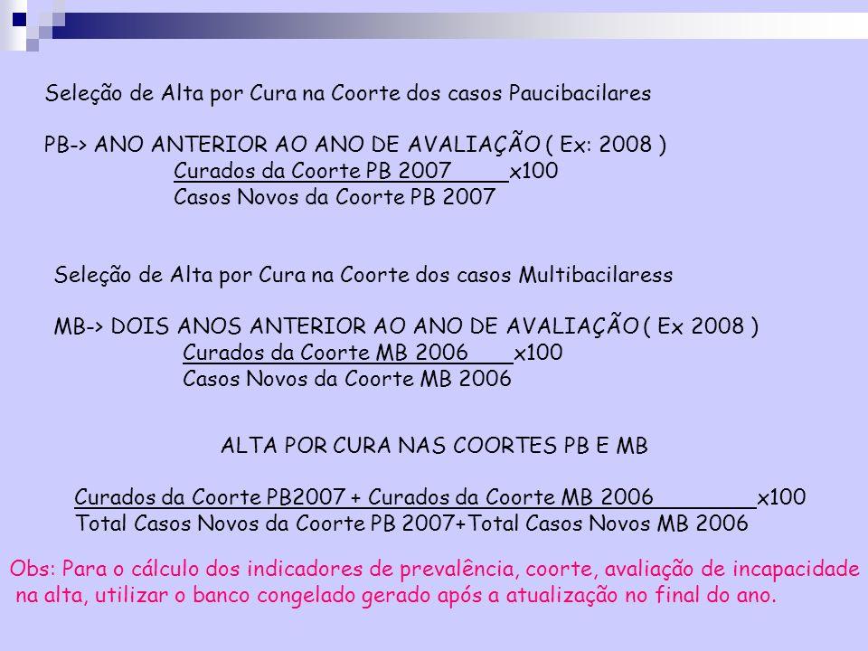 Seleção de Alta por Cura na Coorte dos casos Paucibacilares PB-> ANO ANTERIOR AO ANO DE AVALIAÇÃO ( Ex: 2008 ) Curados da Coorte PB 2007 x100 Casos No