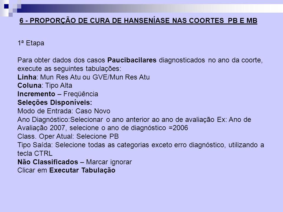 1ª Etapa Para obter dados dos casos Paucibacilares diagnosticados no ano da coorte, execute as seguintes tabulações: Linha: Mun Res Atu ou GVE/Mun Res