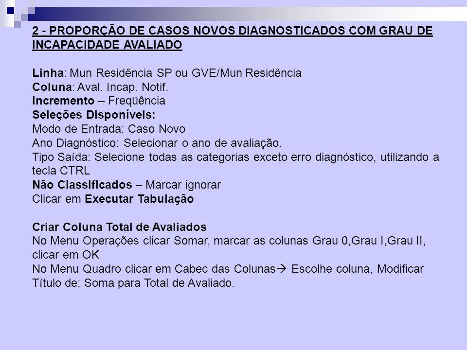 IndicadorCálculoUtilidadeParâmetros Proporção de casos curados no ano com grau de incapacidade avaliado.