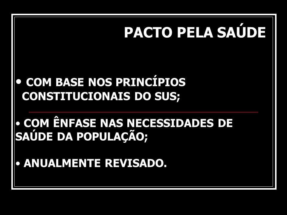 COM BASE NOS PRINCÍPIOS CONSTITUCIONAIS DO SUS; COM ÊNFASE NAS NECESSIDADES DE SAÚDE DA POPULAÇÃO; ANUALMENTE REVISADO. PACTO PELA SAÚDE