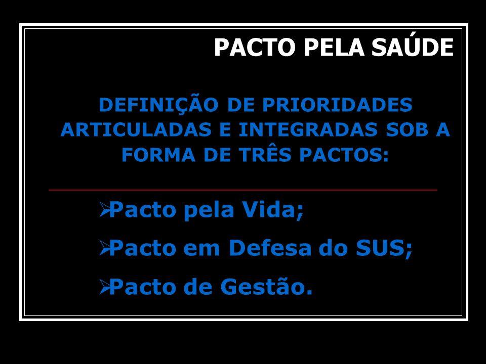 DEFINIÇÃO DE PRIORIDADES ARTICULADAS E INTEGRADAS SOB A FORMA DE TRÊS PACTOS: Pacto pela Vida; Pacto em Defesa do SUS; Pacto de Gestão. PACTO PELA SAÚ