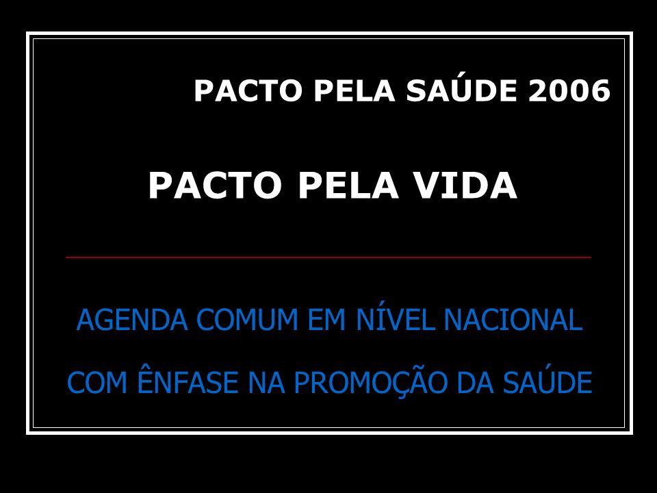 AGENDA COMUM EM NÍVEL NACIONAL COM ÊNFASE NA PROMOÇÃO DA SAÚDE PACTO PELA VIDA PACTO PELA SAÚDE 2006