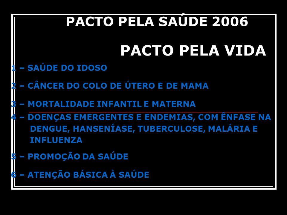 PACTO PELA VIDA 1 – SAÚDE DO IDOSO 2 – CÂNCER DO COLO DE ÚTERO E DE MAMA 3 – MORTALIDADE INFANTIL E MATERNA 4 – DOENÇAS EMERGENTES E ENDEMIAS, COM ÊNF
