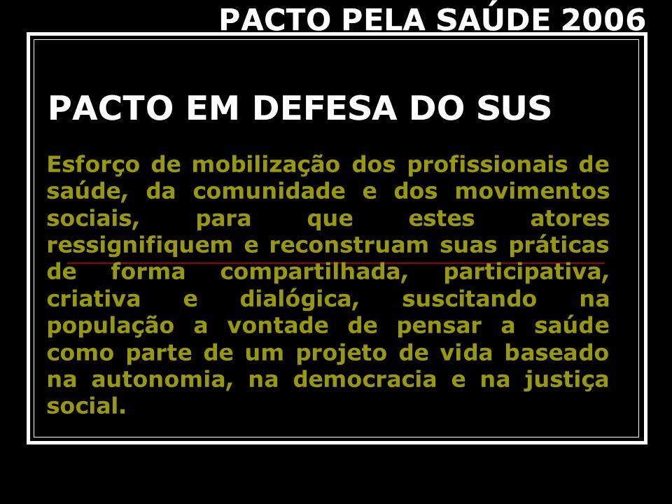 PACTO EM DEFESA DO SUS PACTO PELA SAÚDE 2006 Esforço de mobilização dos profissionais de saúde, da comunidade e dos movimentos sociais, para que estes