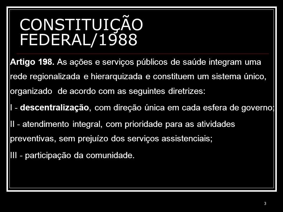 3 CONSTITUIÇÃO FEDERAL/1988 Artigo 198. As ações e serviços públicos de saúde integram uma rede regionalizada e hierarquizada e constituem um sistema