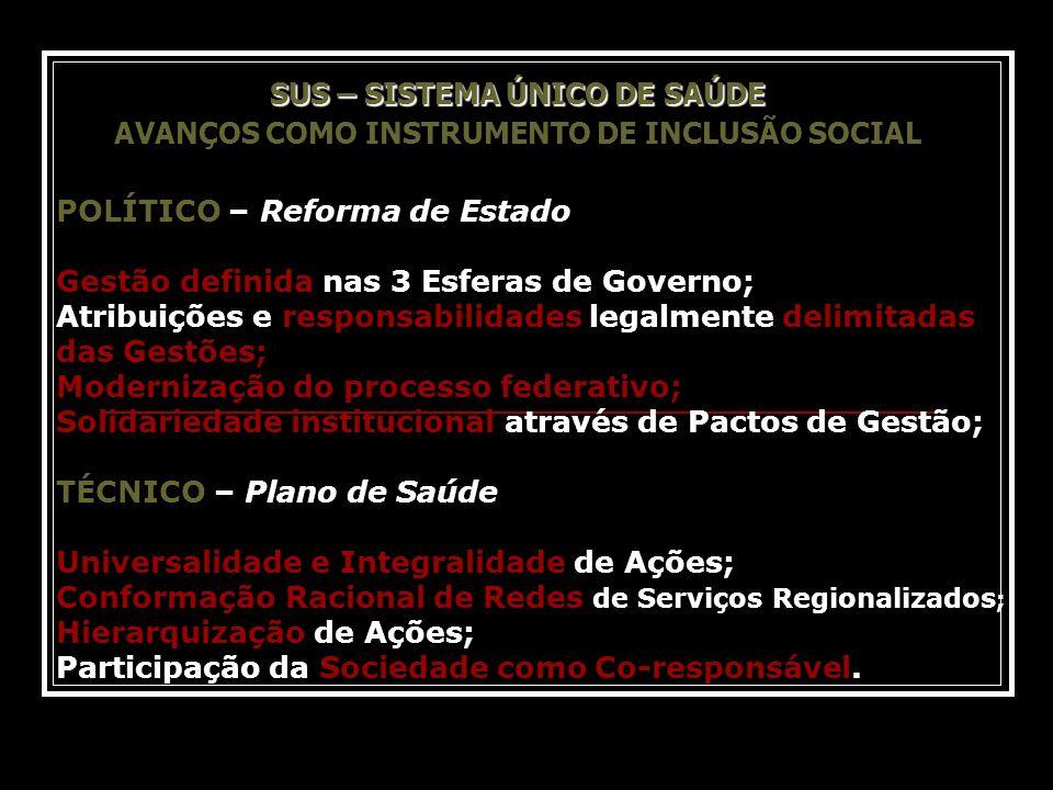 SUS – SISTEMA ÚNICO DE SAÚDE SUS – SISTEMA ÚNICO DE SAÚDE AVANÇOS COMO INSTRUMENTO DE INCLUSÃO SOCIAL POLÍTICO – Reforma de Estado Gestão definida nas