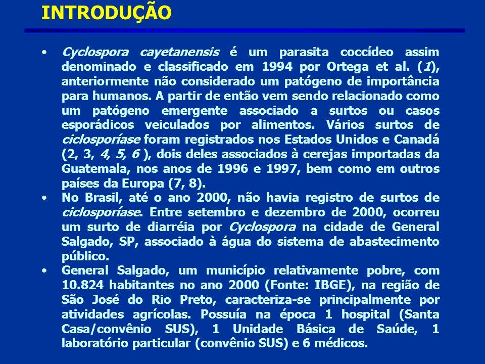 INTRODUÇÃO Cyclospora cayetanensis é um parasita coccídeo assim denominado e classificado em 1994 por Ortega et al.