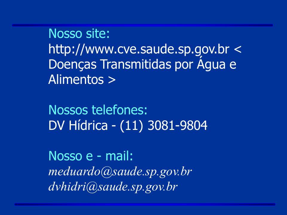 Nosso site: http://www.cve.saude.sp.gov.br Nossos telefones: DV Hídrica - (11) 3081-9804 Nosso e - mail: meduardo@saude.sp.gov.br dvhidri@saude.sp.gov.br
