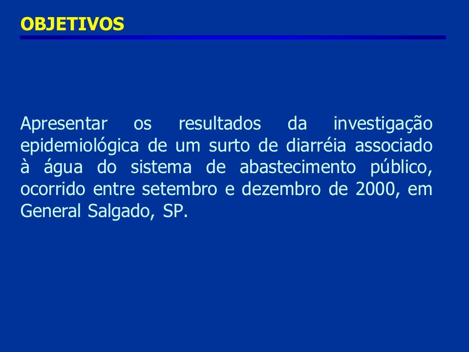 OBJETIVOS Apresentar os resultados da investigação epidemiológica de um surto de diarréia associado à água do sistema de abastecimento público, ocorrido entre setembro e dezembro de 2000, em General Salgado, SP.