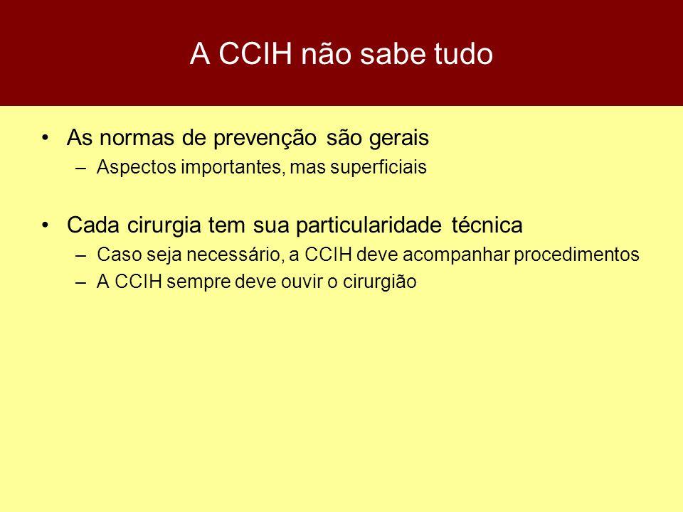 A CCIH não sabe tudo As normas de prevenção são gerais –Aspectos importantes, mas superficiais Cada cirurgia tem sua particularidade técnica –Caso sej