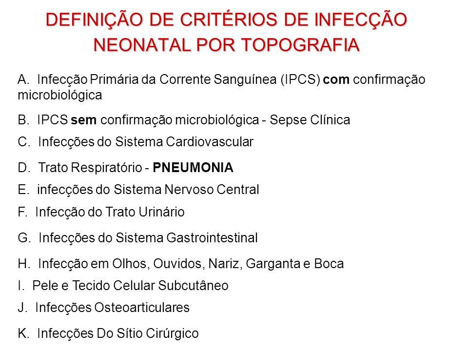 DEFINIÇÃO DE CRITÉRIOS DE INFECÇÃO NEONATAL POR TOPOGRAFIA A. Infecção Primária da Corrente Sanguínea (IPCS) com confirmação microbiológica B. IPCS se