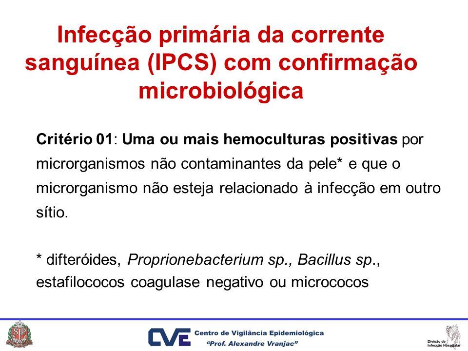 Critério 01: Uma ou mais hemoculturas positivas por microrganismos não contaminantes da pele* e que o microrganismo não esteja relacionado à infecção em outro sítio.