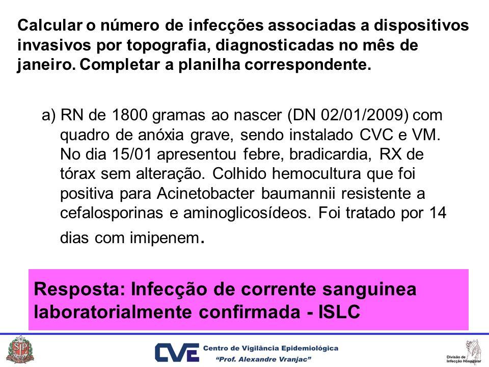 Calcular o número de infecções associadas a dispositivos invasivos por topografia, diagnosticadas no mês de janeiro. Completar a planilha corresponden