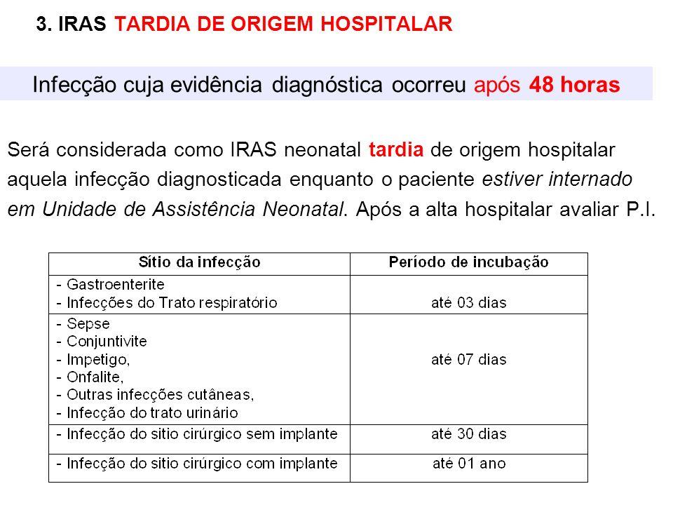 3. IRAS TARDIA DE ORIGEM HOSPITALAR Será considerada como IRAS neonatal tardia de origem hospitalar aquela infecção diagnosticada enquanto o paciente