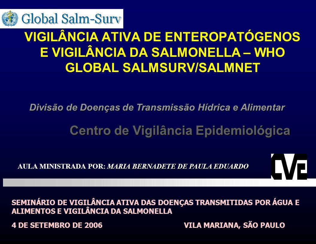 VIGILÂNCIA ATIVA DE ENTEROPATÓGENOS E VIGILÂNCIA DA SALMONELLA – WHO GLOBAL SALMSURV/SALMNET SEMINÁRIO DE VIGILÂNCIA ATIVA DAS DOENÇAS TRANSMITIDAS PO