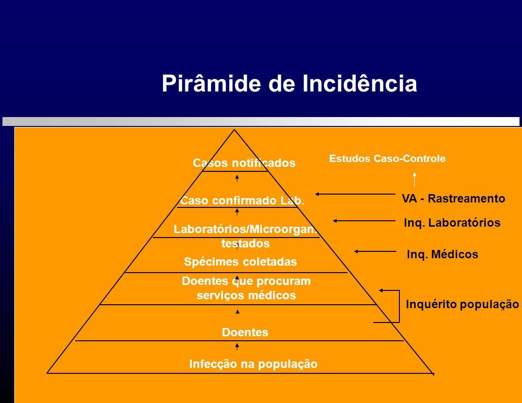 Pirâmide de Incidência Infecção na população Doentes Doentes que procuram serviços médicos Spécimes coletadas Caso confirmado Lab. Casos notificados L
