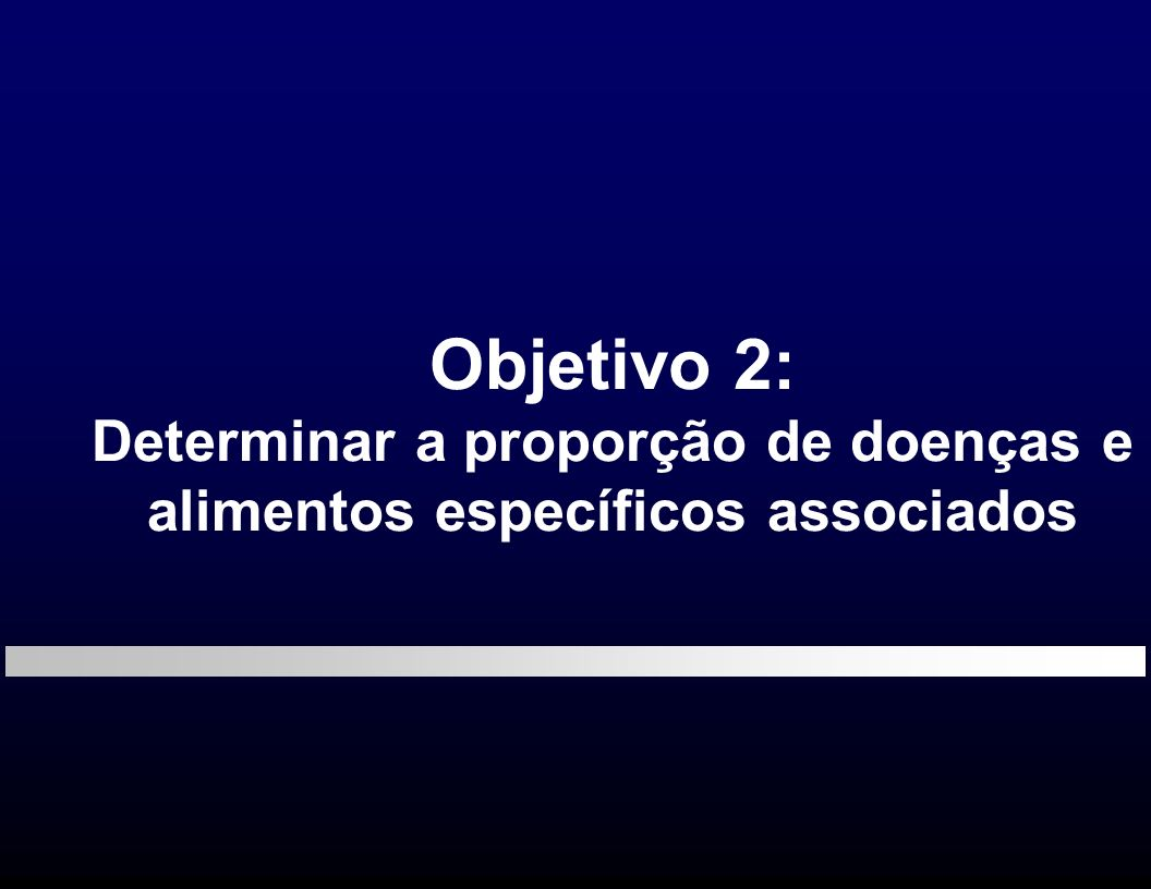 Objetivo 2: Determinar a proporção de doenças e alimentos específicos associados