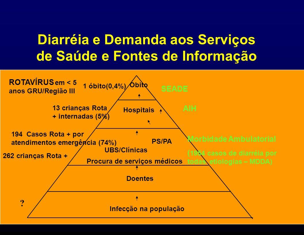 Diarréia e Demanda aos Serviços de Saúde e Fontes de Informação Infecção na população Doentes Procura de serviços médicos UBS/Clínicas Hospitais Óbito