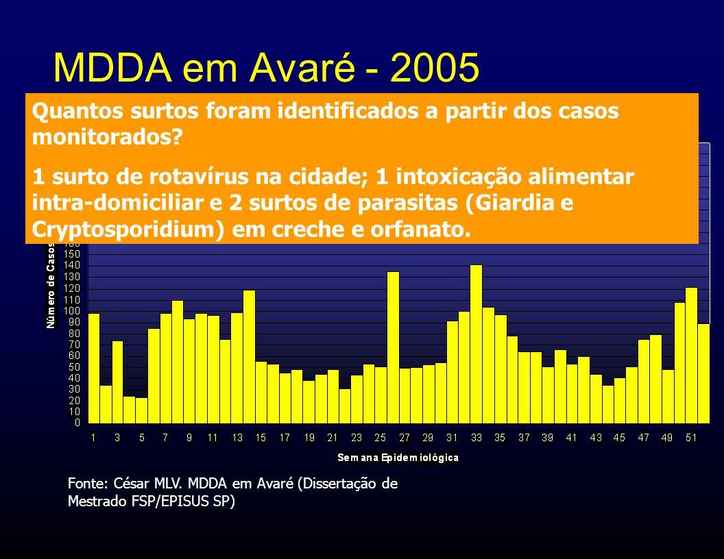 MDDA em Avaré - 2005 Quantos surtos foram identificados a partir dos casos monitorados? 1 surto de rotavírus na cidade; 1 intoxicação alimentar intra-