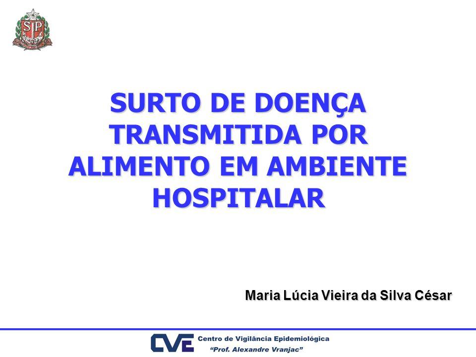 SURTO DE DOENÇA TRANSMITIDA POR ALIMENTO EM AMBIENTE HOSPITALAR Maria Lúcia Vieira da Silva César