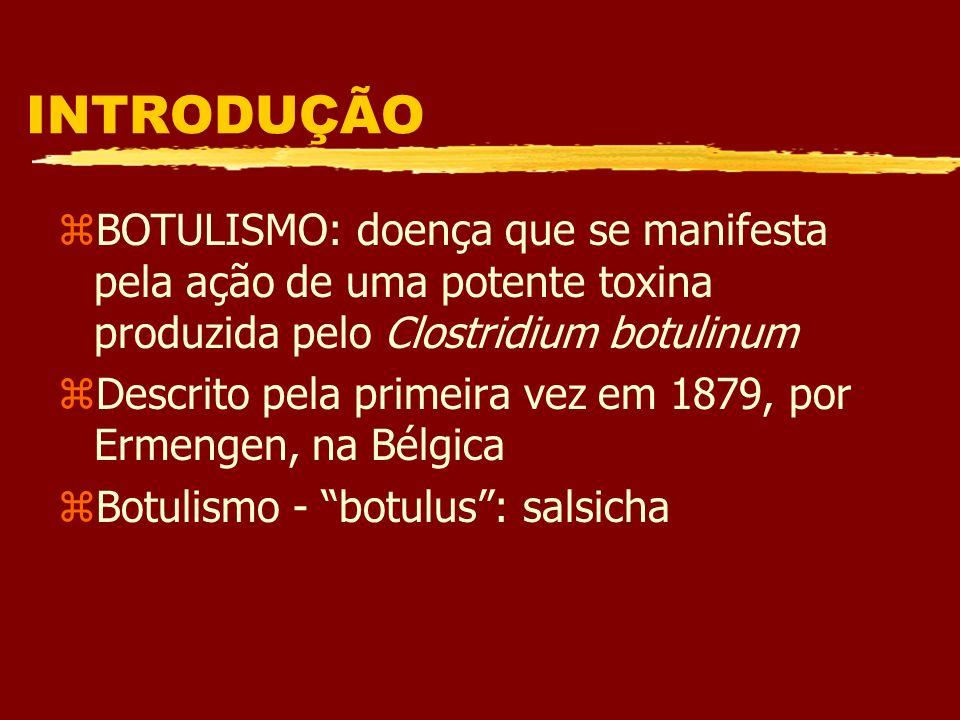 BOTULISMO zBotulismo alimentar: ingestão de alimentos contaminados com a toxina pré-formada zBotulismo Ferimento: causado pela multiplicação do microrganismo com produção de toxina em feridas contaminadas zBotulismo infantil:produção endógena de toxina pela germinação de esporos do C.