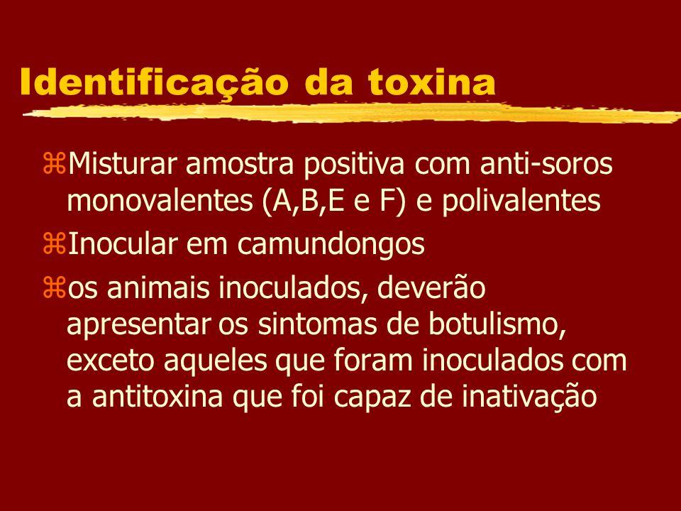 Identificação da toxina zMisturar amostra positiva com anti-soros monovalentes (A,B,E e F) e polivalentes zInocular em camundongos zos animais inocula