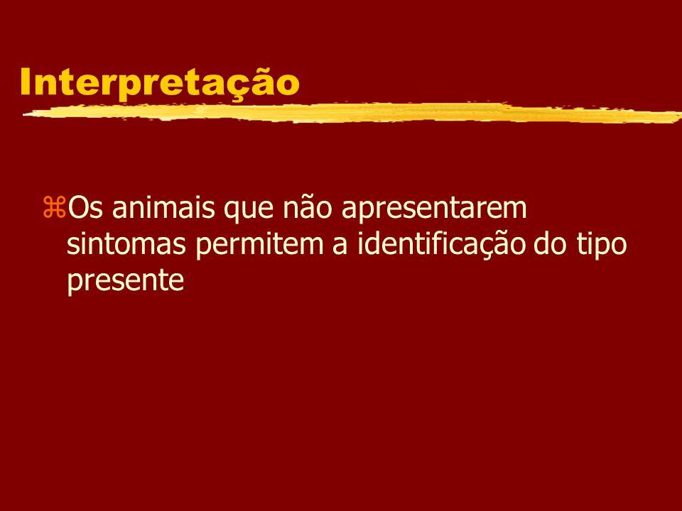 Interpretação zOs animais que não apresentarem sintomas permitem a identificação do tipo presente