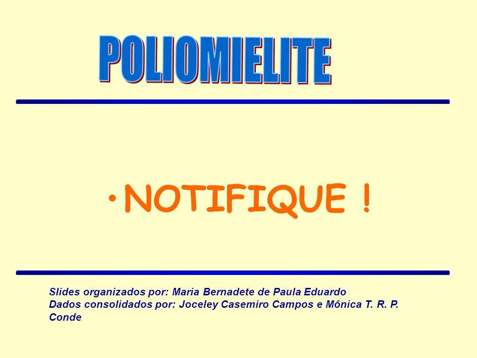 NOTIFIQUE ! Slides organizados por: Maria Bernadete de Paula Eduardo Dados consolidados por: Joceley Casemiro Campos e Mônica T. R. P. Conde
