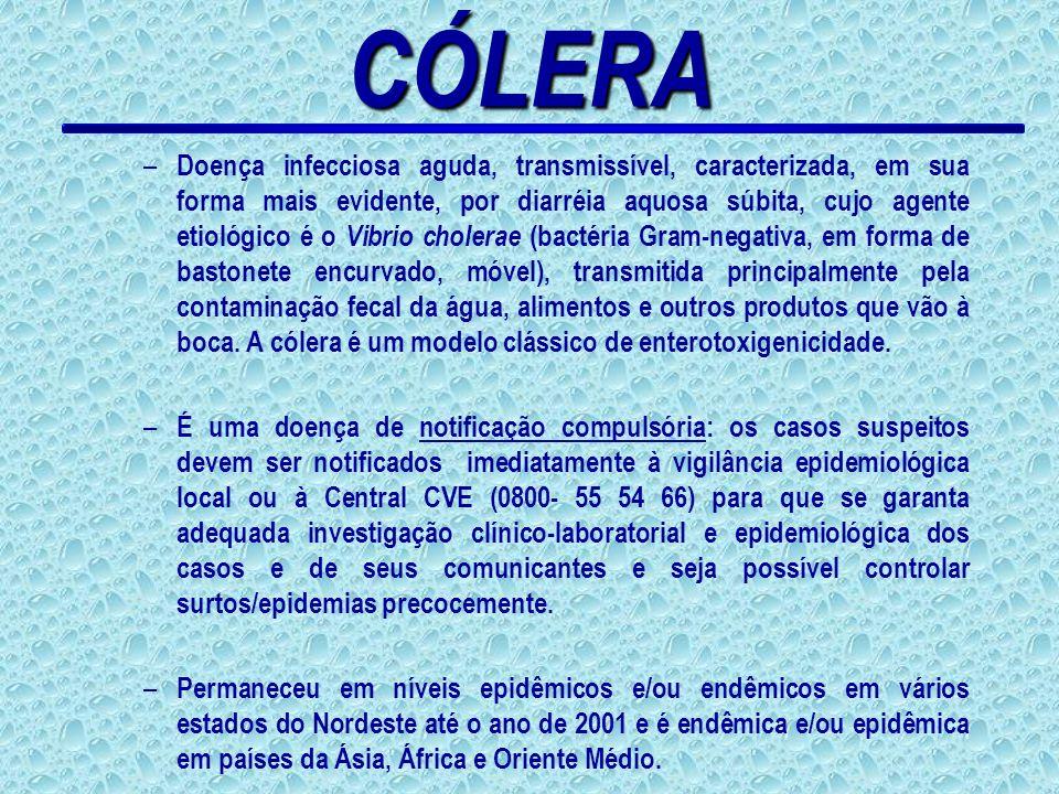 CÓLERA – Doença infecciosa aguda, transmissível, caracterizada, em sua forma mais evidente, por diarréia aquosa súbita, cujo agente etiológico é o Vib