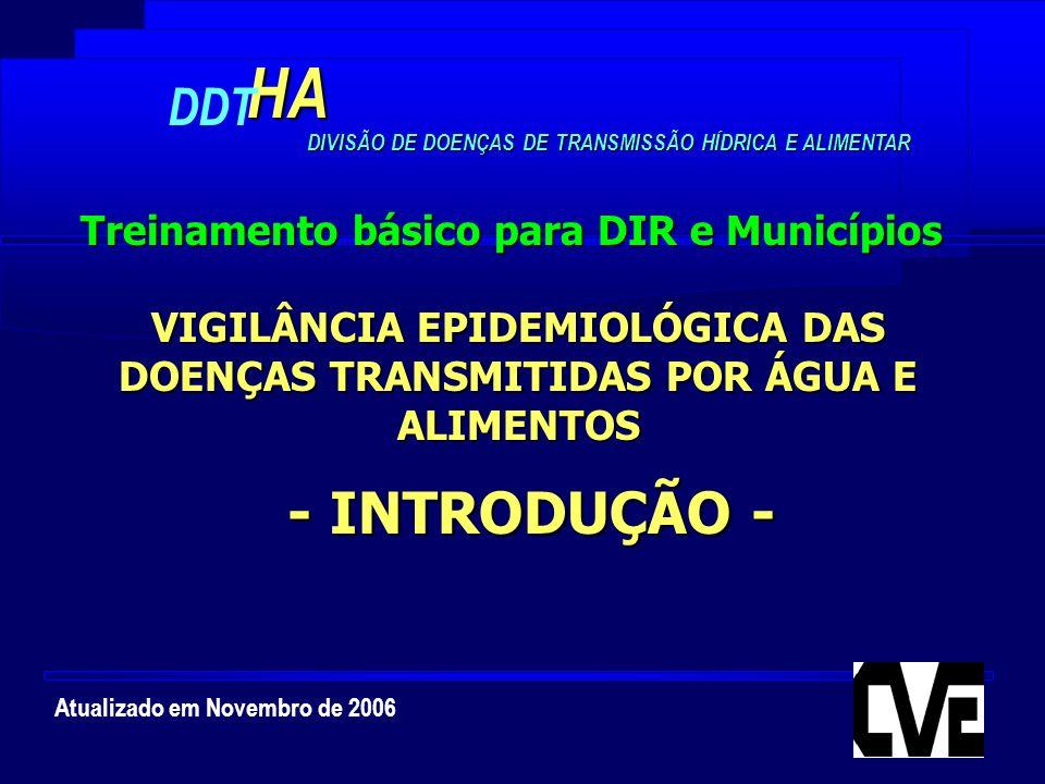 Atualizado em Novembro de 2006HA DDT DIVISÃO DE DOENÇAS DE TRANSMISSÃO HÍDRICA E ALIMENTAR VIGILÂNCIA EPIDEMIOLÓGICA DAS DOENÇAS TRANSMITIDAS POR ÁGUA