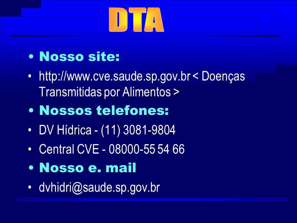 Nosso site: http://www.cve.saude.sp.gov.br Nossos telefones: DV Hídrica - (11) 3081-9804 Central CVE - 08000-55 54 66 Nosso e. mail dvhidri@saude.sp.g