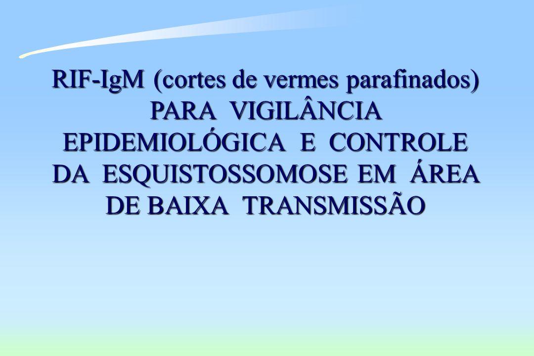 RIF-IgM (cortes de vermes parafinados) PARA VIGILÂNCIA EPIDEMIOLÓGICA E CONTROLE DA ESQUISTOSSOMOSE EM ÁREA DE BAIXA TRANSMISSÃO