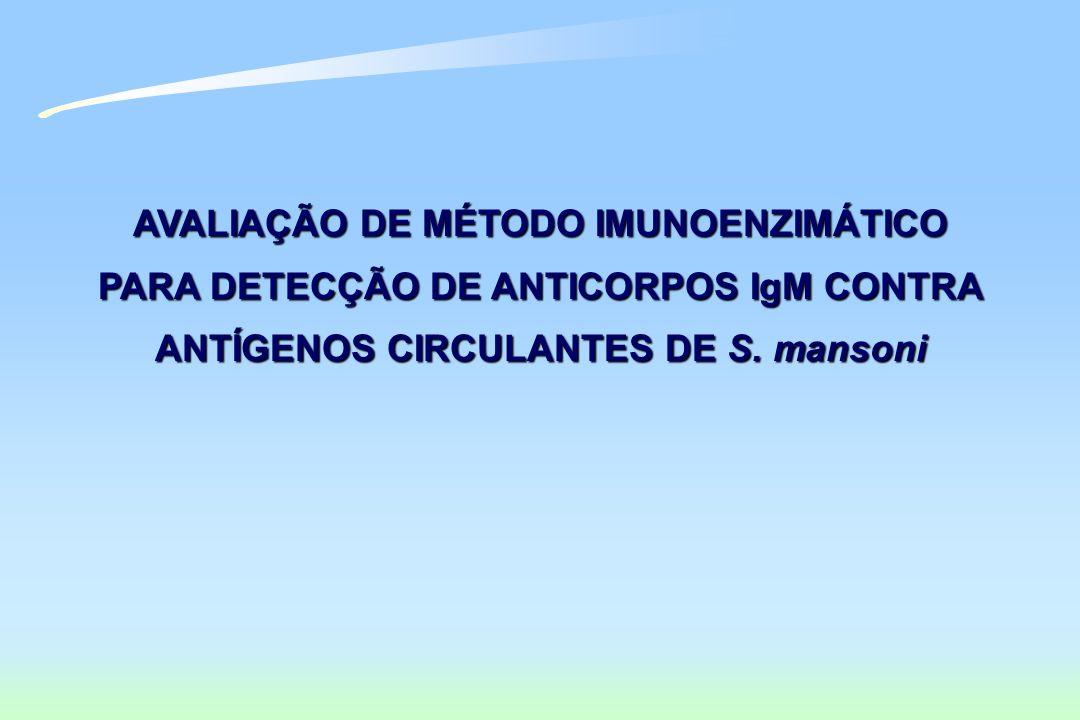 AVALIAÇÃO DE MÉTODO IMUNOENZIMÁTICO PARA DETECÇÃO DE ANTICORPOS IgM CONTRA ANTÍGENOS CIRCULANTES DE S. mansoni