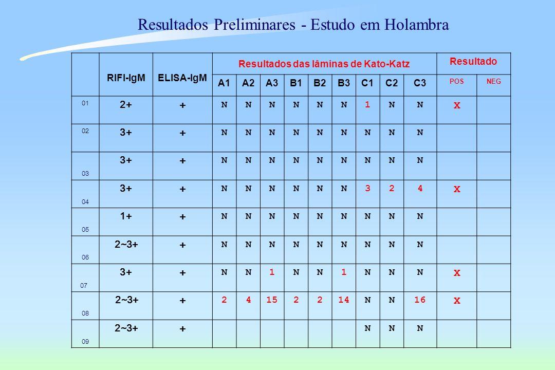 RIFI-IgMELISA-IgM Resultados das lâminas de Kato-Katz Resultado A1A2A3B1B2B3C1C2C3 POSNEG 01 2+ + NNNNNN1NN X 02 3+ + NNNNNNNNN 03 3+ + NNNNNNNNN 04 3