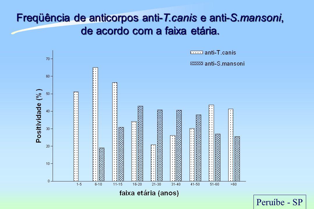 Freqüência de anticorpos anti-T.canis e anti-S.mansoni, de acordo com a faixa etária. Peruíbe - SP